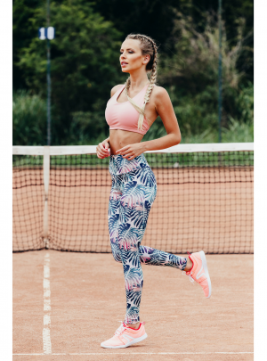 Tropical garden ankle length leggings